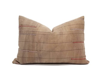 "DISCOUNTED 14.5""×22"" light brown rose/nude hemp hmong pillow cover"