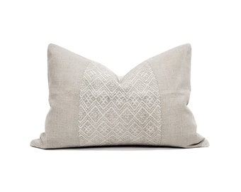 "14""×20"" greige Chinese wedding blanket pillow+flax linen pillow cover"