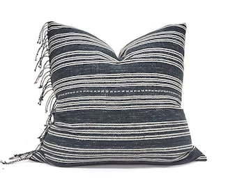 "22"" fringe on side black(navy undertone) stripe Asian textile cotton pillow cover"