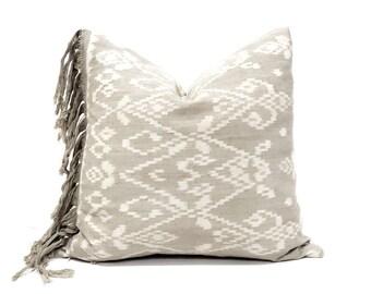 "18"" fringe on side sage/grey Indonesian ikat pillow cover"