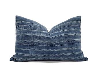 """13""""×20"""" indigo mudcloth pillow cover"""