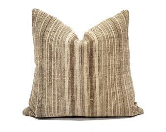 """18"""" brown stripe Hmong hemp linen pillow cover"""