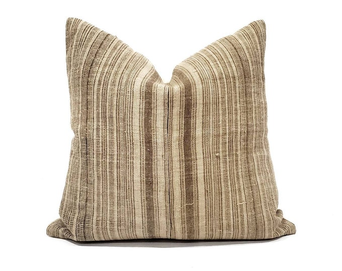 "Featured listing image: 18"" brown stripe Hmong hemp linen pillow cover"