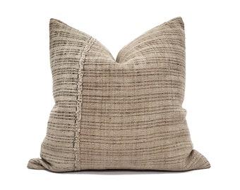 "22""& 24"" muted khaki fireweed Chinese hemp linen pillow cover"