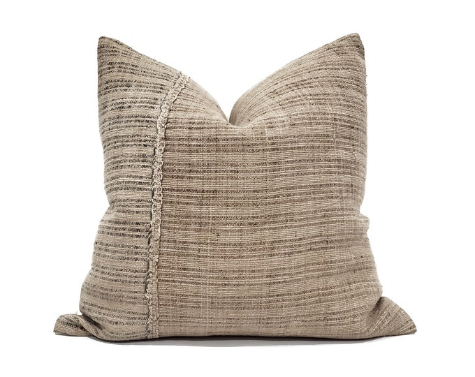 """Featured listing image: 22""""& 24"""" muted khaki fireweed Chinese hemp linen pillow cover"""