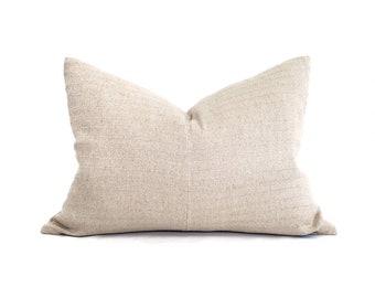 """16""""×22"""" soft beige hemp linen Asian textile pillow cover"""