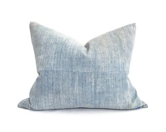 Faded blue Chinese denim pillow cover