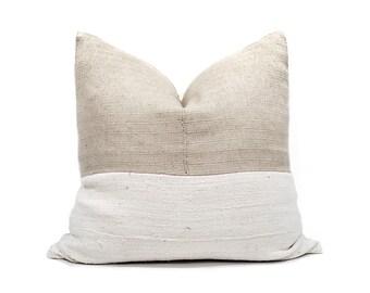 "22"" beige hemp Asian textile+cream mudcloth pillow cover"