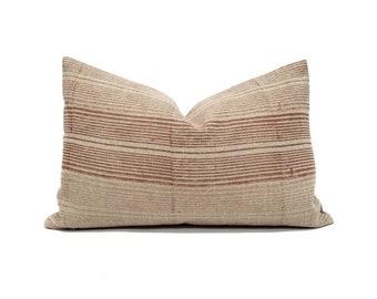 """13""""x20"""" terra cotta varigated stripe flax linen pillow"""