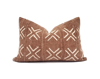 Various sizes rust mudcloth pillow cover