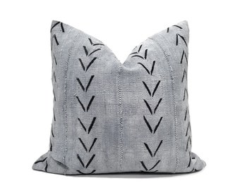 Grey big arrow mudcloth pillow cover in various sizes