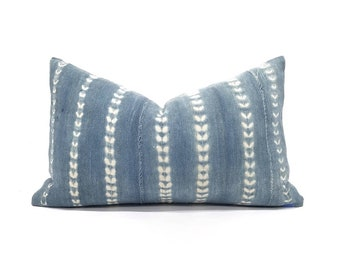 "12""x20"" faded indigo mudcloth pillow cover"