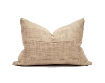 Various sizes camel/tan hemp linen paneled Hmong pillow cover