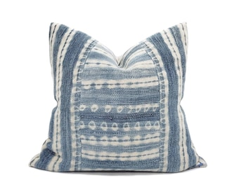 "Indigo mudcloth pillow cover, 19.5"" indigo mudcloth pillow, African mudcloth pillow, denim pillow cover"