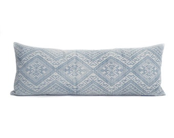 """13.5""""×35"""" faded blue Chinese wedding blanket bed pillow cover"""