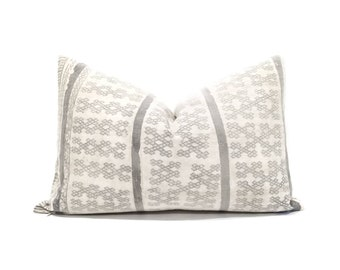 "13""×20"" grey batik hmong pillow cover"