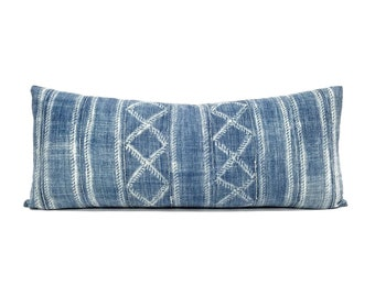 Indigo mudcloth bed pillow in various sizes