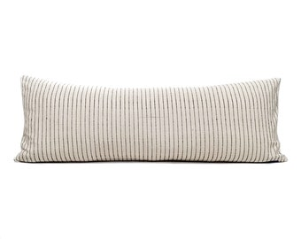 "13""×34"" XL lumbar cream/black stripe cotton Asian textile pillow cover"