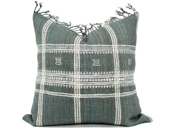 "20"" green Indian wool pillow cover with fringe"