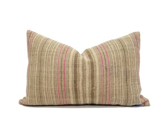 "15""×22.75"" camel stripe hmong hemp linen pillow cover"