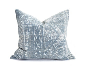 """20""""× 22"""" faded blue Chinese batik pillow cover"""
