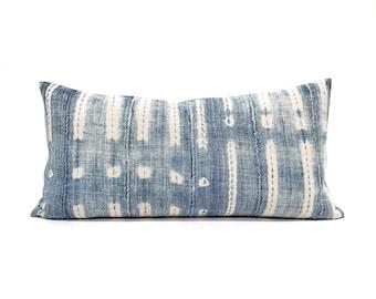 """12""""×24"""" indigo mudcloth pillow cover"""