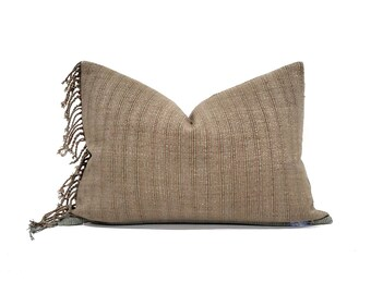 "14""×20"" fringe on side stripe Asian textile cotton pillow cover"