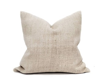 "19"" solid grainsack stripe pillow cover"