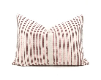 "16""×22"" cranberry pink stripe Asian textile cotton pillow cover"