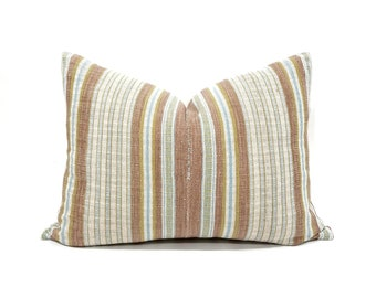 "16""x 21.5"" dusty coral stripe Asian textile cotton pillow with fringe"