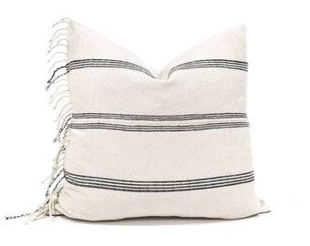 "20"" fringe on side cream/black stripe cotton Asian textile pillow cover"