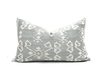 "12""×20"" muted grey(blue undertone) ikat pillow cover"