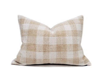 "16""×21.75"" caramel plaid grainsack pillow cover"