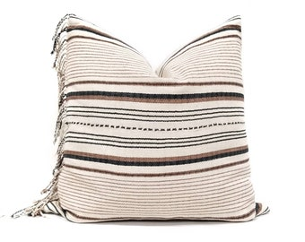 "21"" fringe on side cream/black/rust stripe cotton Asian textile pillow cover"