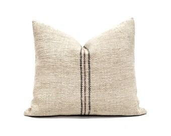 "17""×20"" vintage grainsack black/burgandy stripe pillow cover"