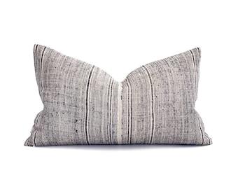 Lumbar & square sizes indigo stripe hmong hemp linen pillow cover
