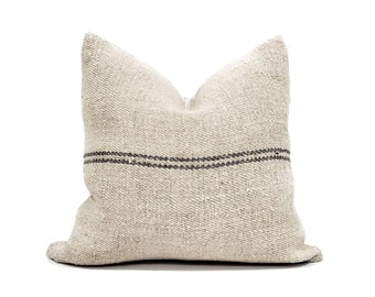 "16"" vintage grainsack dark grey stripe pillow cover"