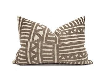 Various lumbar sizes vintage brown mudcloth pillow cover
