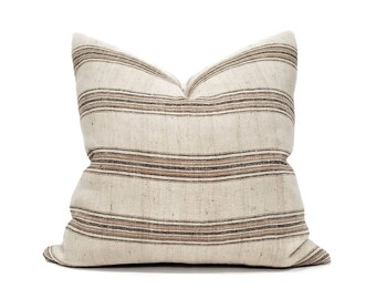 "18""& 22"" wool/cotton muted stripe pillow cover"