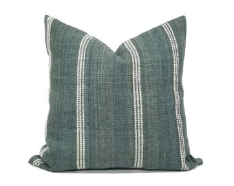 Various sizes green Indian wool stripe pillow cover,