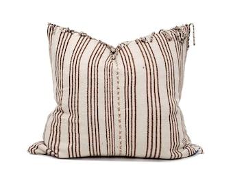 "20""×22"" fringe on top wine stripe Asian textile cotton pillow cover"