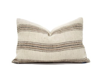 Various lumbar sizes wool/cotton soft muted stripe pillow cover