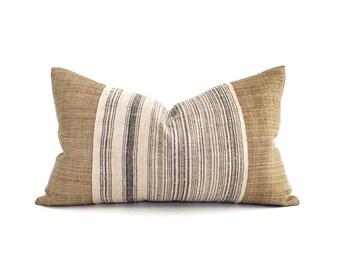 "13""×22"" camel hemp linen+ Hmong charcoal stripe lumbar pillow cover"