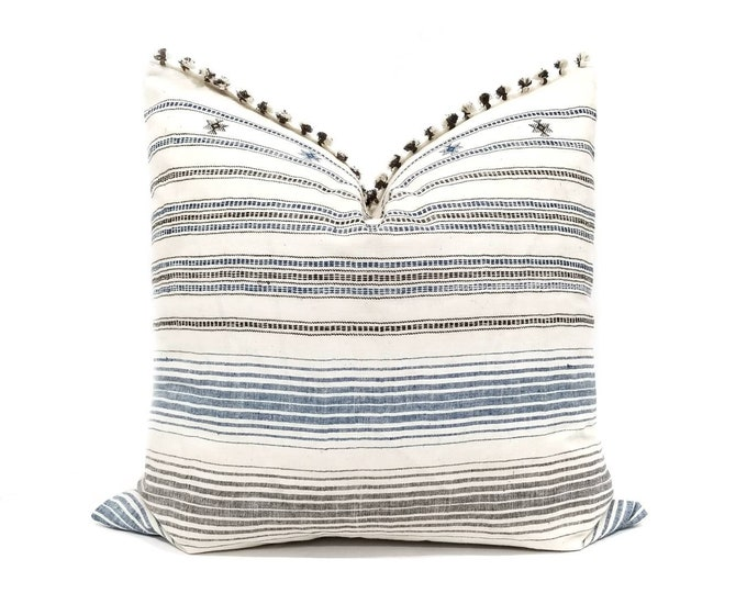 "Featured listing image: 21""×22"" Tassel fringe on top Indonesian ikat cotton pillow cover"