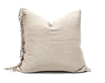"22"" fringe on side beige hemp Asian textile pillow cover"