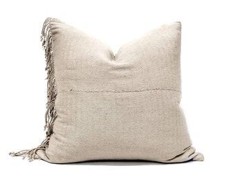 "22""& 24"" fringe on side beige hemp Asian textile pillow cover"