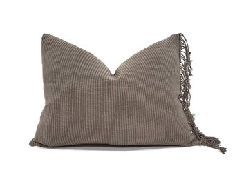 """15""""×20"""" fringe on side brown olive Asian textile cotton stripe pillow cover"""