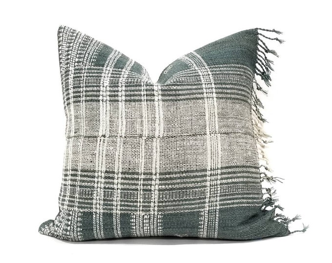 """Featured listing image: 19"""" fringe on side green Indian wool pillow cover"""