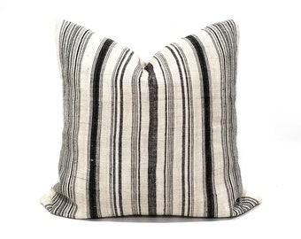 """21"""" black stripe hmong hemp linen pillow cover"""