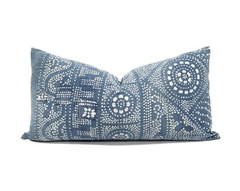 "12""× 23"" indigo Chinese batik pillow cover"